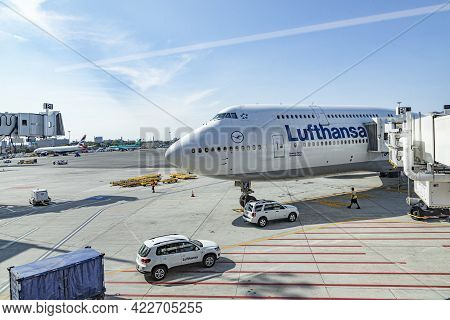 Boston, Usa - September 11, 2017: Lufthansa Aircraft  Parking At The Terminal Of  Boston Logan Inter