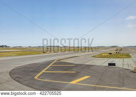 Boston, Usa - September 11, 2017: Runway At Boston Logan International Airport, Usa.