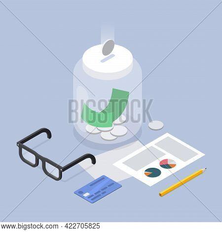 Saving Cash Coin Money Jar Economy Banking Investment Budget Allocation Vector Isometric Illustratio