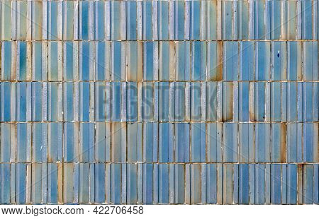 Brown And Blue Tiles Outdoor Tile Ceramic Tile With Joints. Rectangular Brown Glossy Tile Background