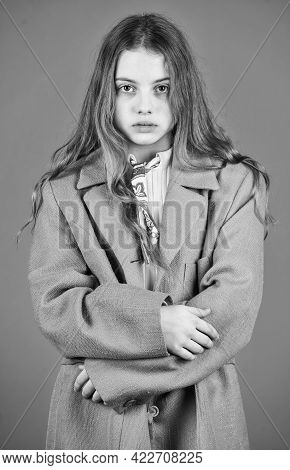 Girl Fashion Model Wear Coat For Spring And Autumn Season. Oversize Concept. Shopping. Trench Coat F