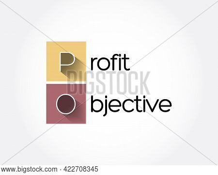 Po - Profit Objective Acronym, Business Concept Background