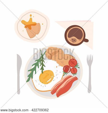 Breakfast With Scrambled Eggs, Bacon, Arugula, Pancakes, Honey And Coffee