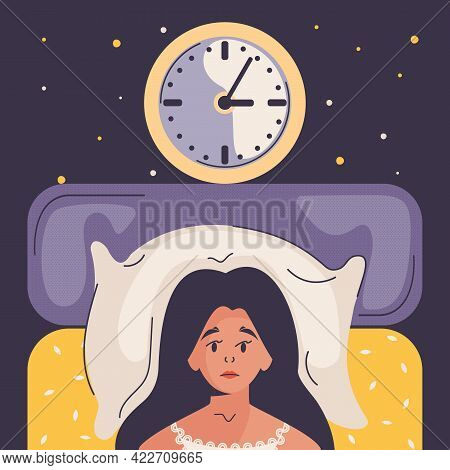 Woman Lying In Bed, Trying To Fall Asleep In Room With Clock. Insomnia Woman