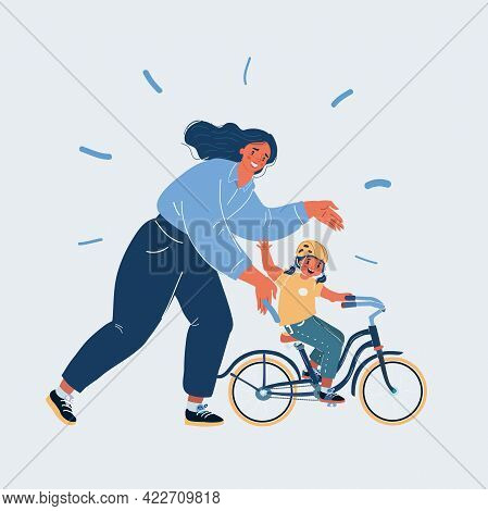 Vector Illustration Of Mother Teaching Girl To Ride The Bike On White Background.