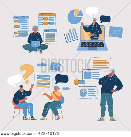 Vector Illustration Of People Developing New Projects. Bundle With Developer.