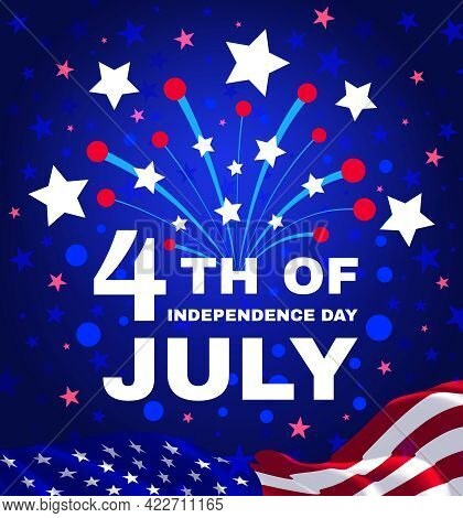 4th Of July, Independence Day Of The United States. Congratulatory Design With Usa Patriotic Colors.