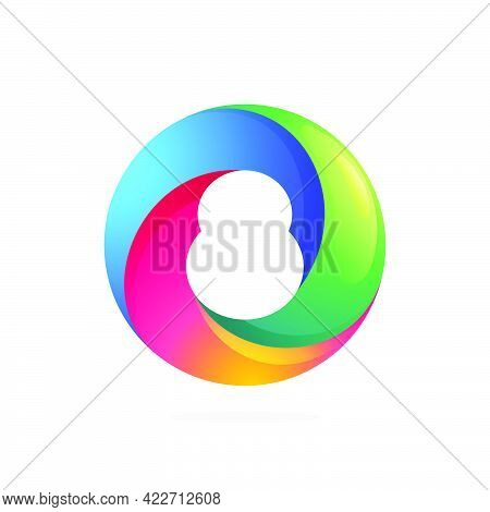 Number Eight Logo Inside Swirling Loop Circle. Negative Space Style Icon. Colorful Gradient Emblem F