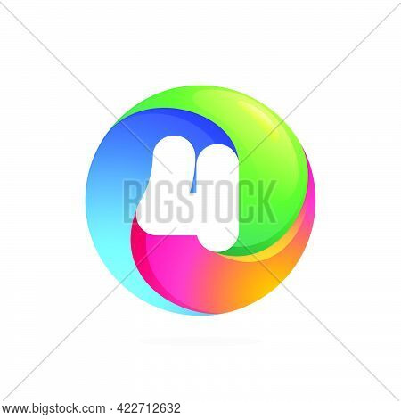 Number Four Logo Inside Swirling Loop Circle. Negative Space Style Icon. Colorful Gradient Emblem Fo