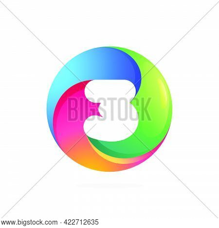 Number Three Logo Inside Swirling Loop Circle. Negative Space Style Icon. Colorful Gradient Emblem F