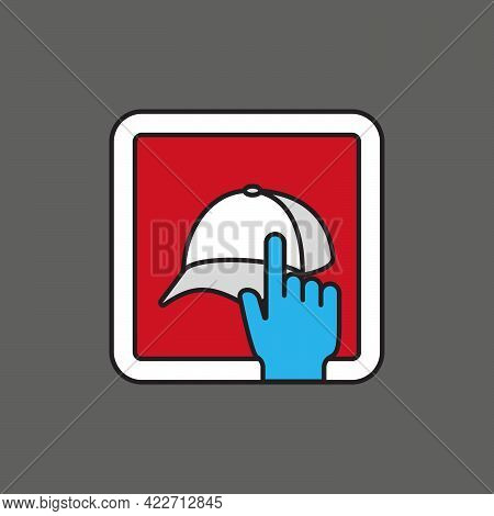 Hat Or Cap Store Touch Mobile Shopping. Icon For App, Website, Or Advertising