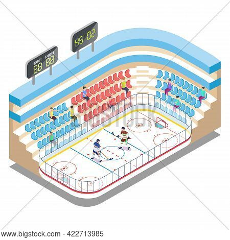 Isometric Ice Hockey Stadium, Players And Fans, Flat Vector Illustration. Ice Hockey Arena, Rink, Sp