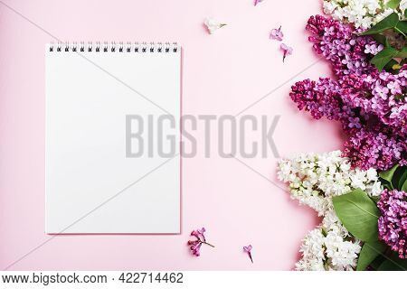 Notebook Sheet, Purple And White Lilacs On A Pink Background.
