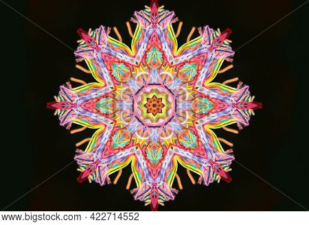 Abstract Pattern Shape Of Bright Multicolored Threads Isolated On A Black Background With 3d Effect