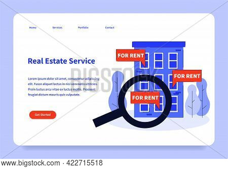 Real Estate Service Landing Page Concept Vector Flat Illustration Template Isometric. Internet Webpa