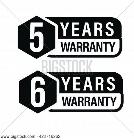 5 Year Warranty Icon, 6 Year Warranty Stamp Set, Black In Color