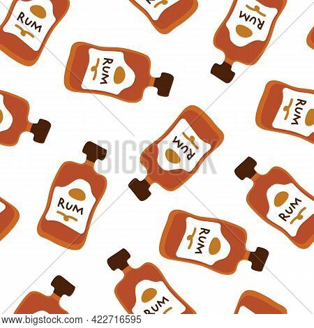 Rum Bottles Seamless Pattern, Great Design For Any Purposes. Doodle Style. Hand Drawn Image. Repeat