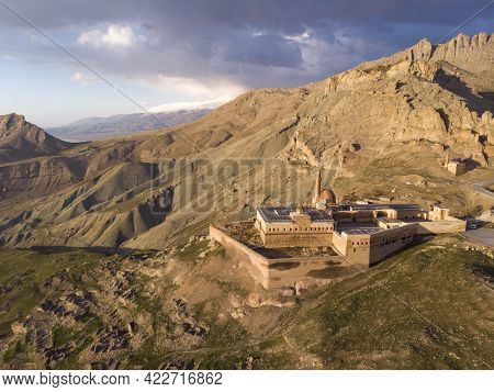 Aerial View Of Ishak Pasha Palace And The Ruins Of The Dogubayazit Castle, Built On The Mountain Nea