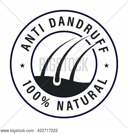 Anti Dandruff Vector Icon With Hair Icon Isolated On White Background, Black In Color