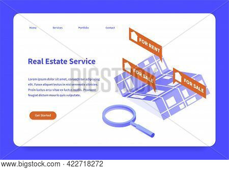Real Estate Service Landing Page Concept Vector Flat Illustration Template Isometric. Webpage Interf