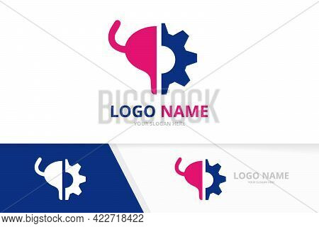 Vector Bladder And Gear Logo Combination. Urinary Tract Logotype Design Template.