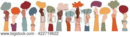 Group Raised Arms Multi-ethnic Multicultural People Holding Speech Bubble In Hand.diverse People Tal