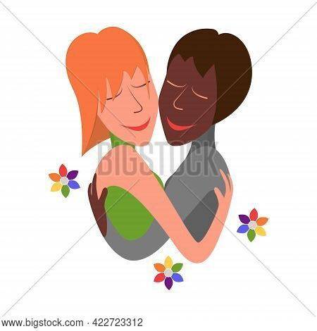 Two Lesbians, Black And White. Lgbt Couple ,portrait Of Cute Young Girls Hugging Each Other. Cartoon