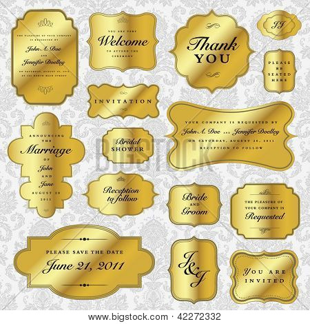 Vector Gold Labels Set. Easy to edit. Perfect for invitations or announcements.