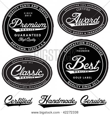Vector Vintage Label Set. Easy to edit with free fonts.
