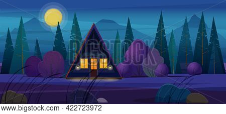 A-frame House With Lights In Windows In The Night Forest. Night Landscape With Wooden Timber Frame H