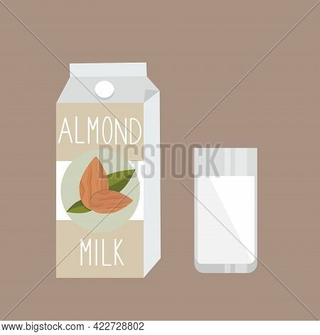 Almond Milk On Carton Pack And Glass On Beige