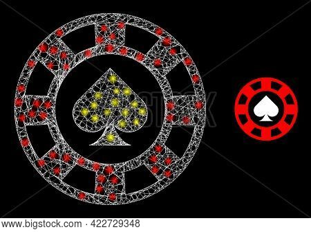 Bright Hatched Spades Casino Chip With Lightspots. Linear Frame Flat Mesh Generated With Intersected