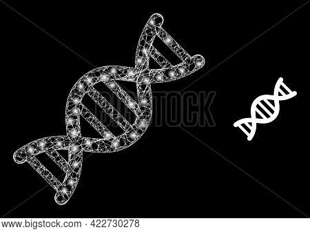 Shiny Web Model Genome Molecule With Glowing Spots. Wire Carcass Flat Mesh Generated From Intersecte