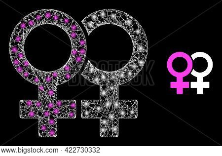 Glossy Mesh Lesbian Couple Symbol With Glowing Spots. Linear Frame 2d Network Generated From Interse