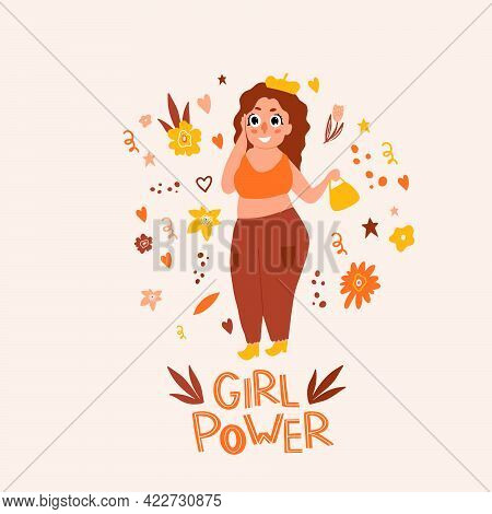 Plus-size Woman. Girl Power. Feminism. Doodle Style. The Body Is Positive. Beautiful Chubby Girl Pos