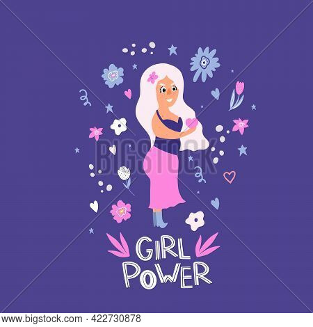 Plus-size Woman. Girl Power. Feminism. Doodle Style. The Body Is Positive. A Beautiful Plump Girl Ho