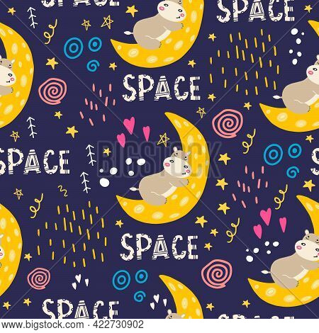 A Seamless Pattern With A Hippo Sleeping On The Moon. Bright Print For The Design Of Children's Clot