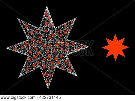 Glossy Net Eight Pointed Star With Lightspots. Linear Carcass 2d Mesh Generated From Crossed White L