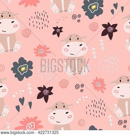 Seamless Pattern With A Small Hippopotamus. Vector Illustration With A Baby Pattern With A Hippo And
