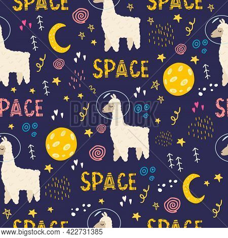 Seamless Pattern With A Llama In Space With An Inscription. Flat Doodle Style. Design Of The Childre