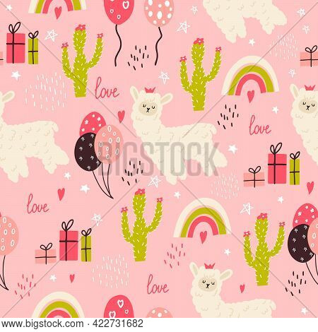Seamless Pattern With A Small Llama, Cacti, Gifts. Vector Illustration Of A Llama For Birthday Decor