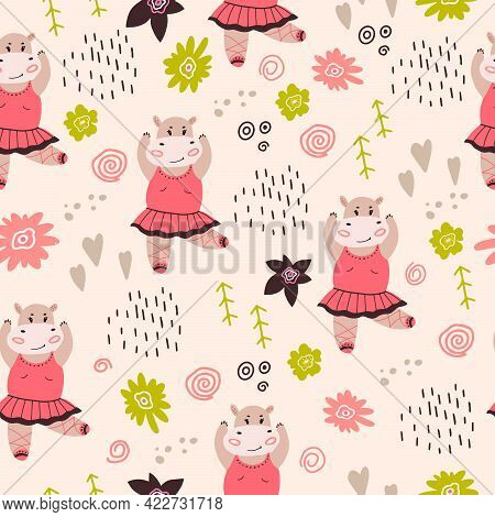 Seamless Pattern With A Small Hippopotamus Ballerina. Vector Illustration With A Child's Pattern Wit
