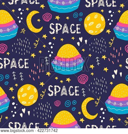 Seamless Pattern With A Bright Alien Ship And Lettering. Vector Illustration With Space, Stars, Spac