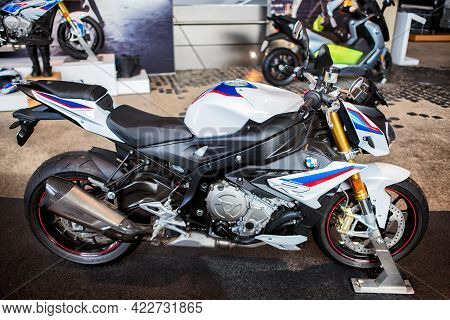 Munich, Germany - September 14, 2018: A Bmw S1000 Motorcycle In The Gallery Of Bmw Museum.