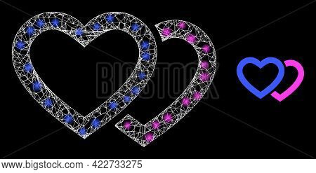 Flare Mesh Romantic Hearts With Lightspots. Linear Carcass 2d Mesh Generated With Crossing White Lin