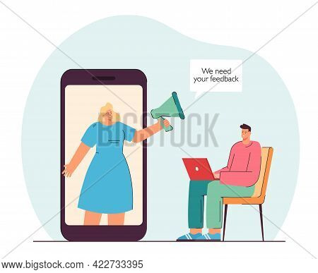 Girl With Megaphone On Phone Screen Inducting Man Give Feedback. Male Person Sitting With Laptop Fla