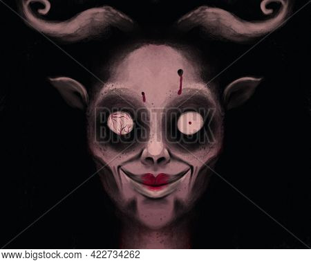 A Porter Of A Scary, Creepy Monster With Horns, Pale Skin And Strange Eyes. Satan Or Demon, Mythical