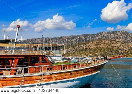 Port With Tourist Boats On The Mediterranean Sea Coast In Turkey