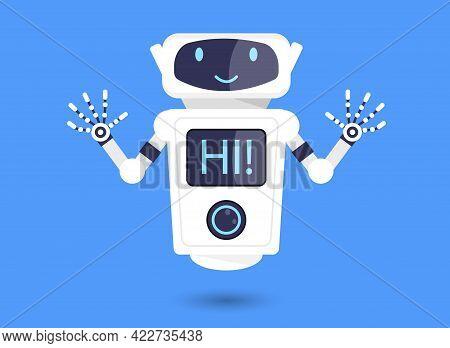 Cute Smiling White Robot Saying Hi On Blue Background. Chatbot Icon. Friendly Chat Bot Saying Hi On