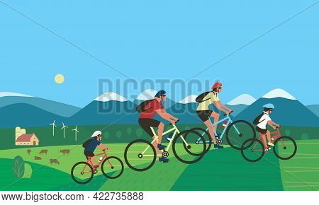 Family Summer Outdoors Active Lifestyle Vector. Happy Family On Bikes Cycling Cartoon Illustration.